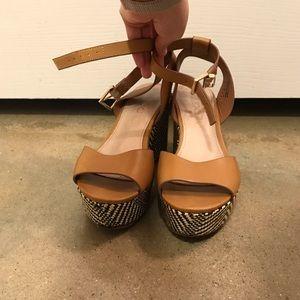 ALDO checkered/tan platform sandals